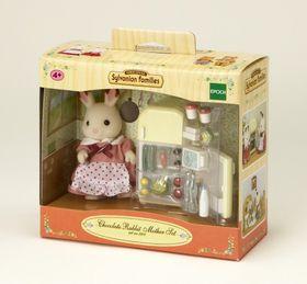 Sylvanian Family   EUR Chocolate Rabbit Mother U0026 Fridge Set