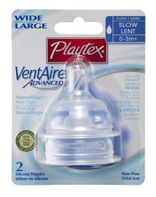 Playtex - Ventaire Advanced Wide Silicone Slow Flow Teat - 2 Piece