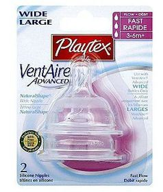 Playtex - Ventaire Advanced Wide Silicone Fast Flow Teat - 2 Piece