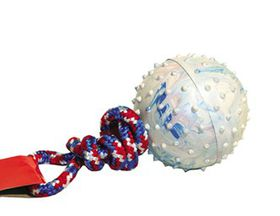 Marltons - Dog Toy Pimple Ball On Rope - 5cm