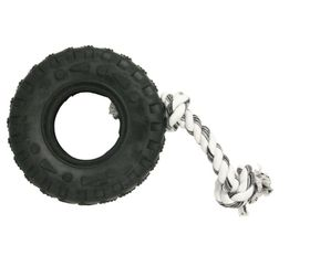 Marltons - Dog Toy Tyre On Rope - 10cm - (Colours May Vary)