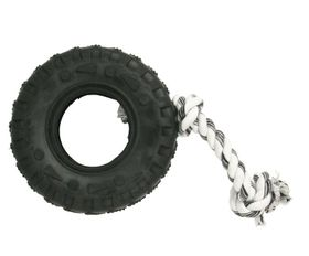 Marltons - Dog Toy Tyre On Rope - 7cm - Black
