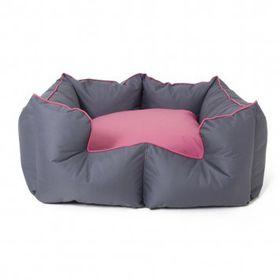 Wagworld - Large K9 Castle Dog Bed - Grey & Pink