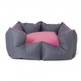 Wagworld - Medium K9 Castle Dog Bed - Grey & Pink