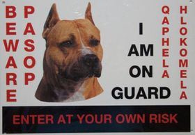Marltons - Beware Of The Dog Sign - Staffie