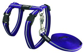 Rogz - Alleycat Reflective Cat Lead & Harness - 24-40cm - Purple
