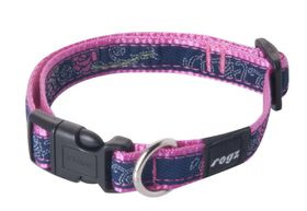 Rogz - Fancy Dress 16mm Dog Collar - Denim Rose