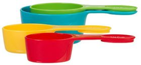 Progressive Kitchenware - 4 Piece Snap Fit Measuring Cups - (60ml - 80ml - 120ml and 240ml) - Red - Blue - Orange and Green