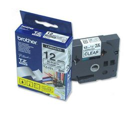 Brother TZ-131 12mm x 8m Black on Clear Laminated Tape