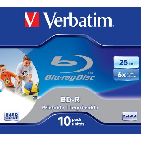 c39434448 Verbatim Blu-ray BD-R(6X) 25GB - 10 Pack Printable Jewel Case | Buy ...