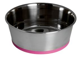 Rogz - Stainless Steel 1700ml Slurp Bowl - Pink Base