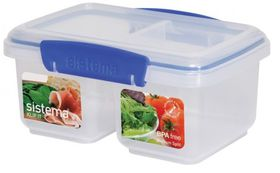 Sistema - Klip It - 1 Litre Split Rectangular Food Storage Container - 17.4 x 11.7 x 8.1cm