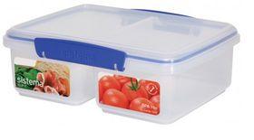 Sistema - Klip It - 2 Litre Split Rectangular Food Storage Container - 23.3 x 17.5 x 8.1cm