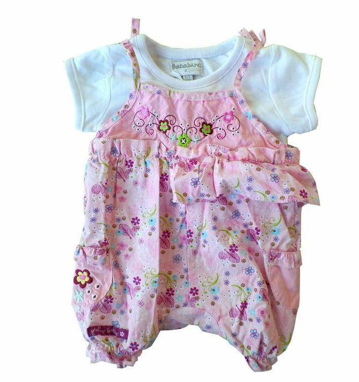 Gorgeous Kids Tea Woven Romper Dungaree Set Size 9 12 Months