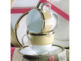 Noritake - Braidwood Demitasse Cup and Saucer - White and Gold With Black Detail