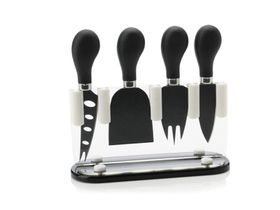 Maxwell and Williams - Slice and Dice Cheese Knife Block Set Gift Boxed - Black and White