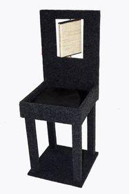 Scratzme - Furry Throne Scratching Post - Grey & Charcoal