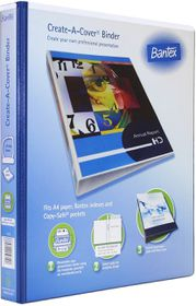 Bantex Create-A-Cover 2 D-Ring A4 25mm Ring Binder - Blue