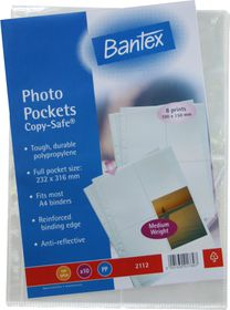 Bantex 'Copy-Safe' Multi-Punched A4 P.P Photo Pockets - 0.035micron (10 p/p)