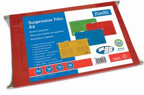 Bantex Suspension File A4 Retail Pack - Red (Pack of 10)
