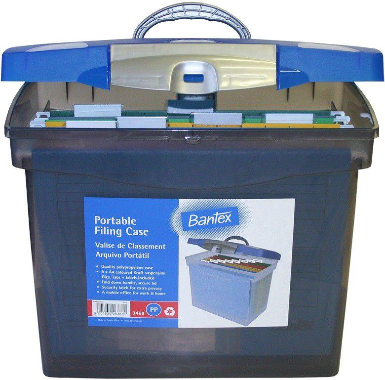 Bantex Portable Suspension Polypropylene File Box Cobalt
