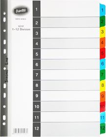 Bantex A4 12 (1-12) Division Mylar Tabbed Indexes