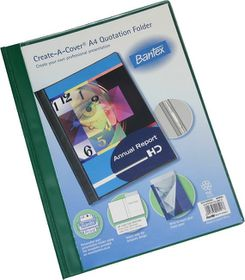 Bantex Create-A-Cover A4 Quotation Folder - Green