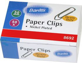 Bantex Paper Clips - 50mm Nickel Plated (50's)