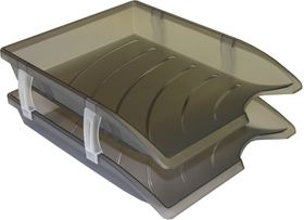 Bantex Optima Retail Pack - 2x Trays & Set of Risers - Anthracite Grey