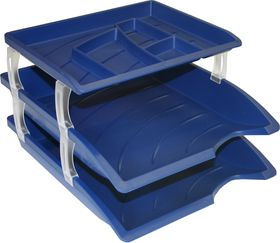 Bantex Optima Letter Trays & Organiser Set - Blue (Retail Pack)