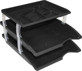 Bantex Optima Letter Trays & Organiser Set - Black (Retail Pack)