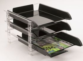 Bantex Vision 3 Tier Letter Tray - Clear