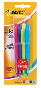 BIC Clic Medium Ballpoint Pens - Fashion Colours (Blister of 4)