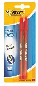 BIC Cristel Gel Medium Pens - Red (Blister of 2)