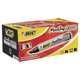 BIC 2300 Permanent Marker Chisel Point - Black (Box of 12)