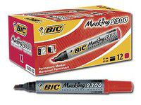BIC 2300 Permanent Marker Chisel Point - Red (Box of 12)