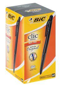 BIC Clic Medium Ballpoint Pens - Black (Box of 60)