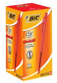 BIC Clic Medium Ballpoint Pens - Red (Box of 60)