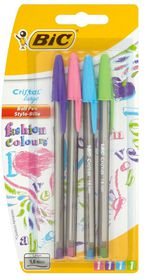 BIC Cristal Large Ballpoint Pens - Fashion Colours (Blister of 4)