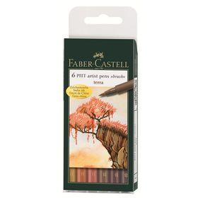 Faber-Castell PITT Artist Pens - Terra Set With Brush Tip (Wallet of 6)