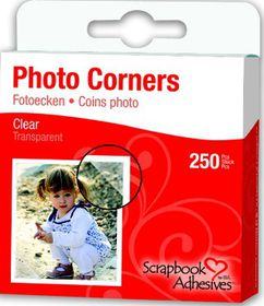 3L Photo Corners - Polypropylene Metallic Look Clear (Pack of 250 Corners)