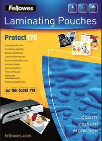 Fellowes Protect175 A4 175micron Gloss Laminating Pouches (100 Pack)