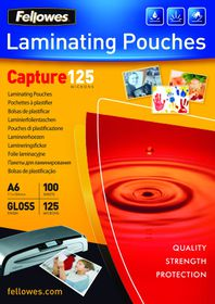 Fellowes Capture125 A6 Gloss Laminating Pouches - 125 micron (Pack of 100)
