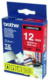 Brother TZ-435 12mm x 8m White on Red Laminated Tape