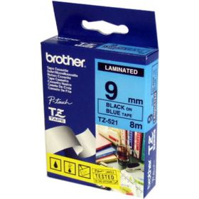Brother TZ-521 9mm x 8m Black on Blue Laminated Tape