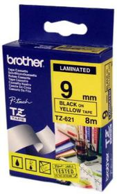 Brother TZ-621 9mm x 8m Black On Yellow Laminated Tape