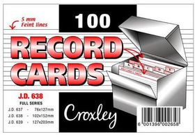 Croxley JD638 Record Cards - Lined (Pack of 100)