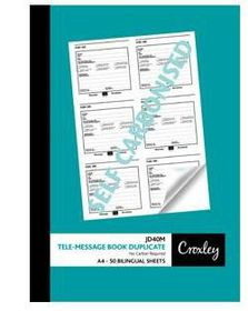 Croxley JD40M Telephone Message Duplicate Book