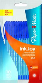 Paper Mate Inkjoy 100 Capped Ball Pen - Blue (Pack of 10)