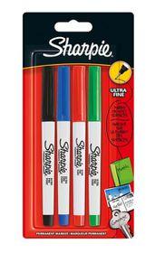 Sharpie Ultra-Fine Permanent Marker - Assorted Standard (Carded 4's)